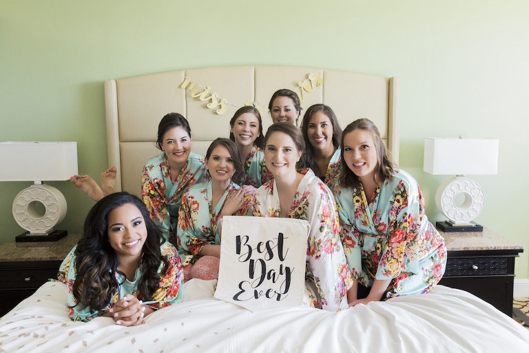 Florida Bride and Bridesmaids in Matching Floral Robes Getting Ready Wedding Portrait, Best Day Ever Wedding Sign | Downtown St. Pete Boutique Hotel Wedding Venue The Birchwood