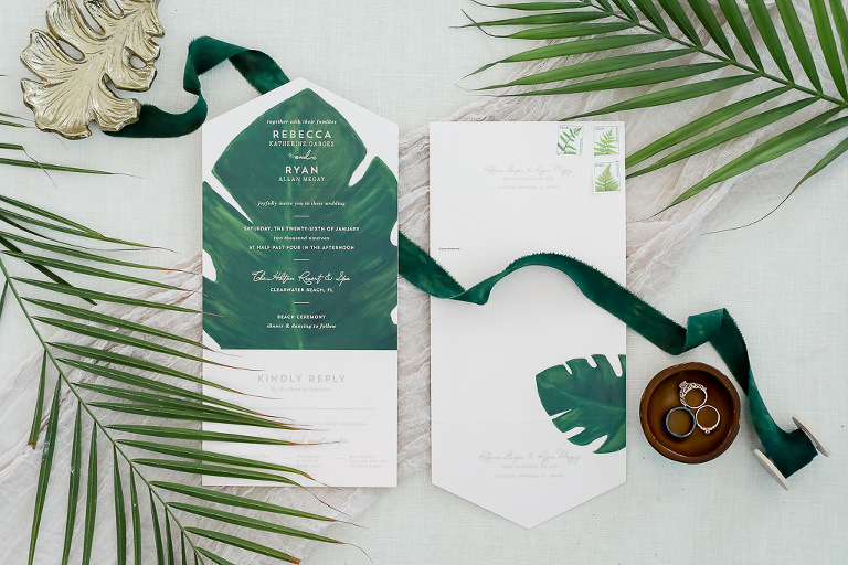 Tropical Inspired Water Color Wedding Invitation with Green Palm Leaf, Bride Engagement and Wedding Ring, Groom Wedding Band | Photographer Lifelong Photography Studios