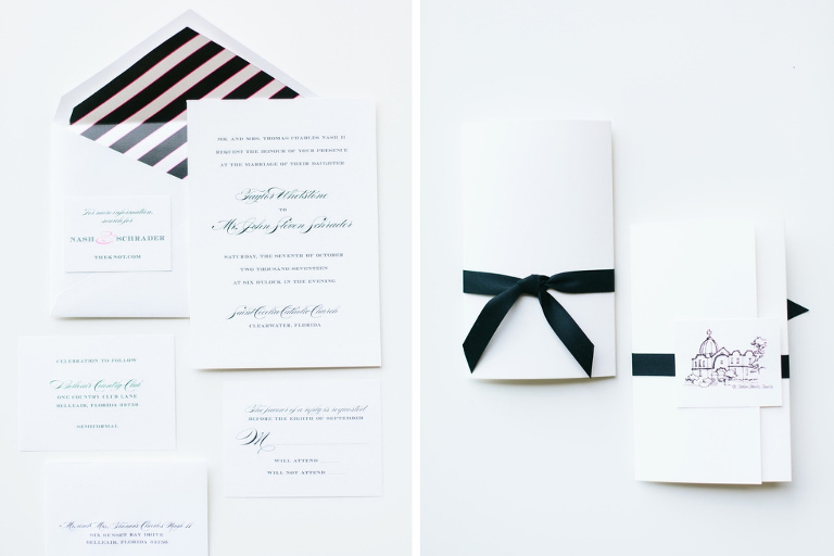 Classic Traditional Kate Spade Inspired Wedding Invitation Suite with Black Stripe Envelope, White Wedding Stationary with Navy Blue Ribbon and Custom Drawing | Tampa Bay Wedding Invitations and Stationary URBANcoast