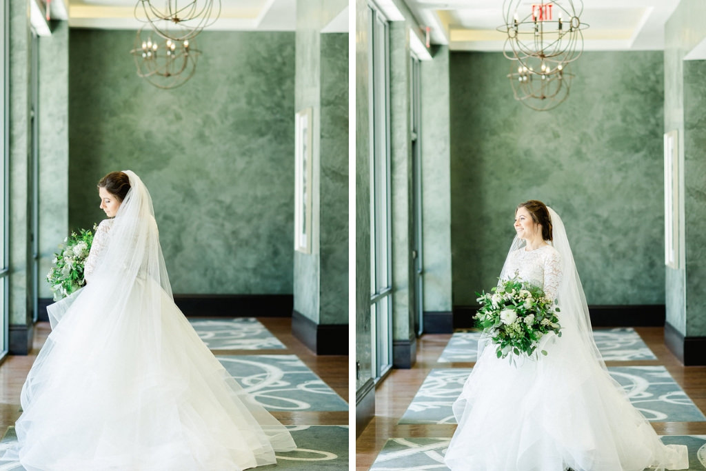 Florida Bride Wedding Portrait in Long Sleeve Lace Bodice and Tulle Ballgown Skirt Wedding Dress with Organic White and Greenery Floral Bouquet