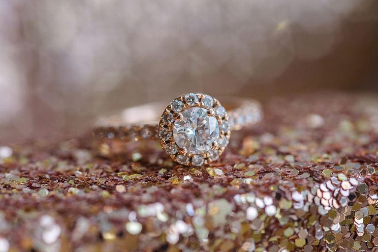Round Yellow Gold Diamond Engagement Ring with Diamond Halo