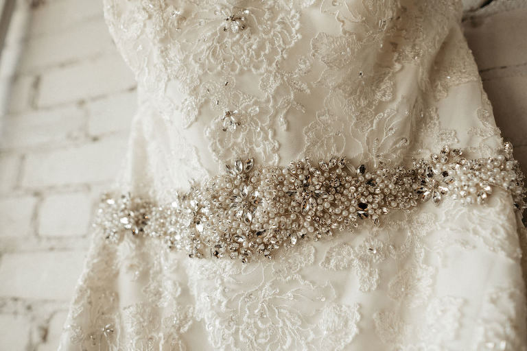 Lace and Rhinestone Wedding Dress with Rhinestone Crystals and Pearl Belt