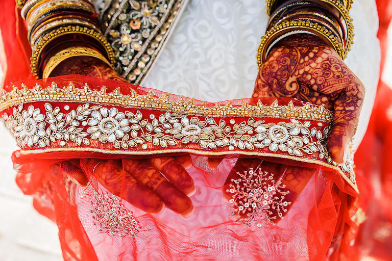 Tampa Bay Indian Hindu Bride Wedding Accessories, Pearl and Rhinestone Embellished Red Dupatta Veil and Henna Tattoo Hands