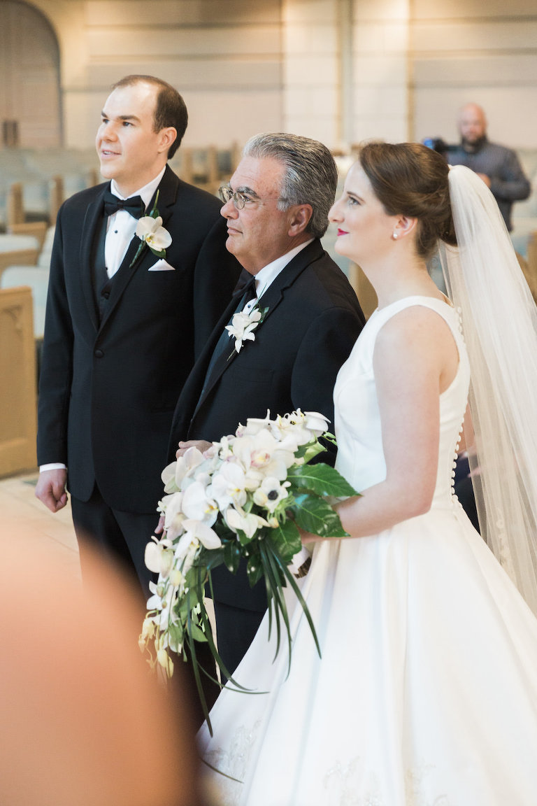 Bride and Father Church Wedding Ceremony Portrait, White Sleeveless Wedding Gown | White and Green Floral Bouquet | First Baptist Church of St. Petersburg