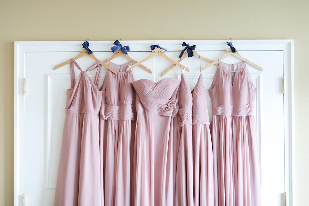 Mismatched Style Dusty Rose Long Bridesmaids Dresses | St. Pete Photographer LifeLong Photography Studios