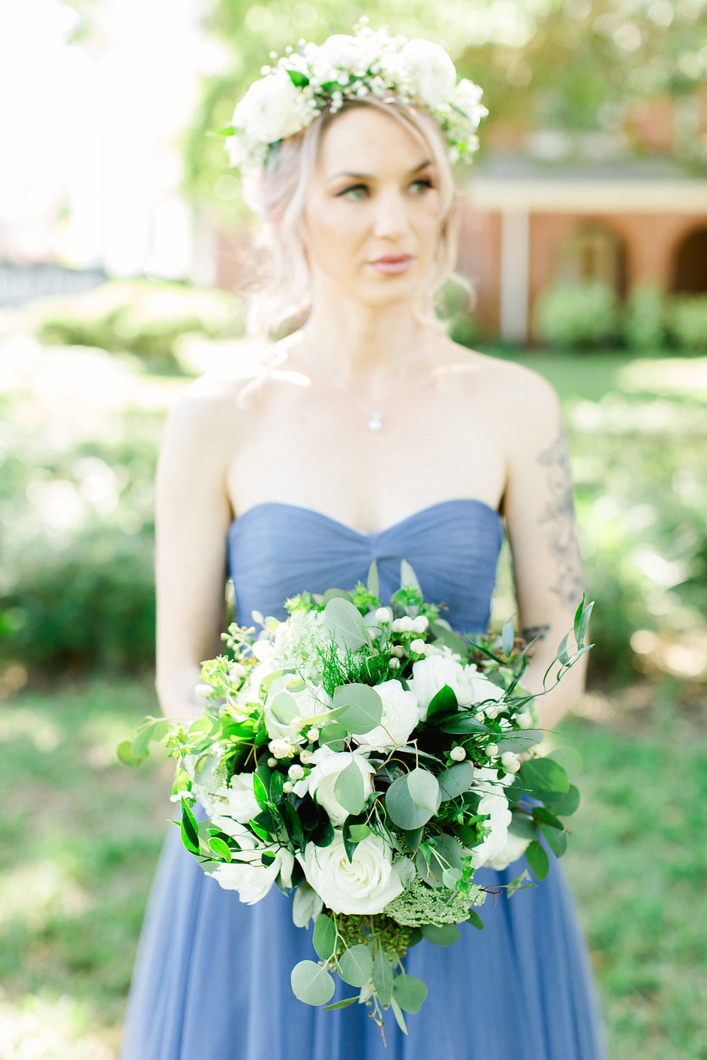 Tampa Bridesmaid in Blue Strapless Dress and White Flower Crown with Organic White, Ivory and Greenery Floral Bouquet