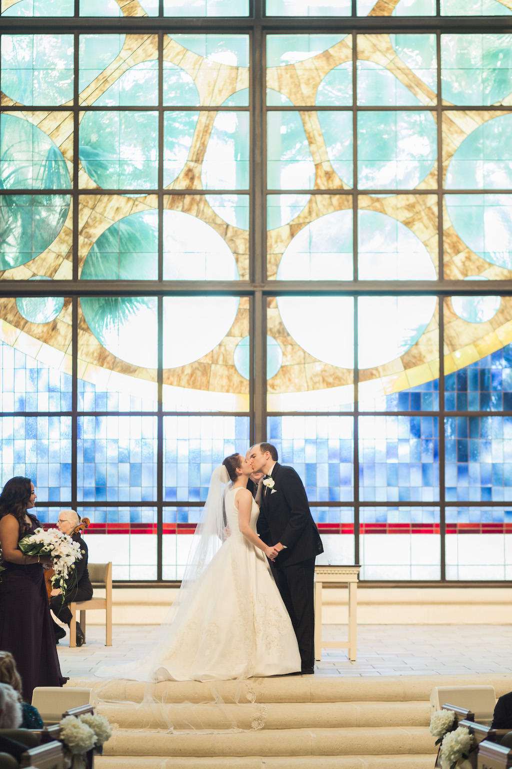 Bride and Groom First Kiss at Church Wedding Ceremony | First Baptist Church of St. Petersburg