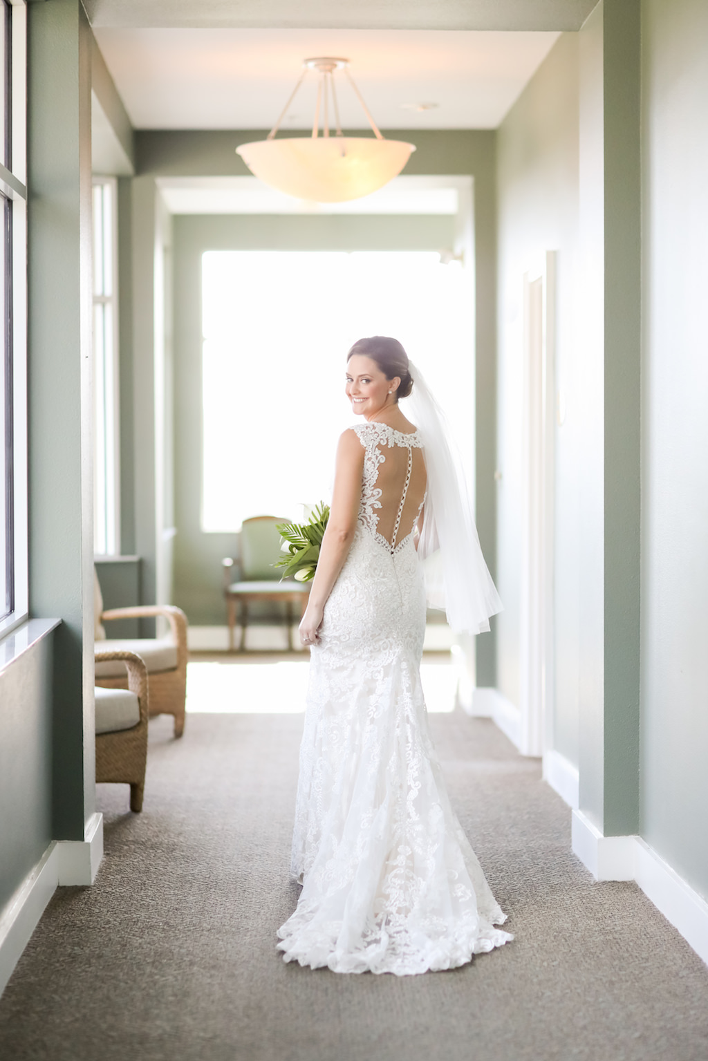 Tampa Bay Bride Wedding Portrait in Fitted Lace and Keyhole Illusion with Button Back Wedding Dress | Photographer LifeLong Photography Studios