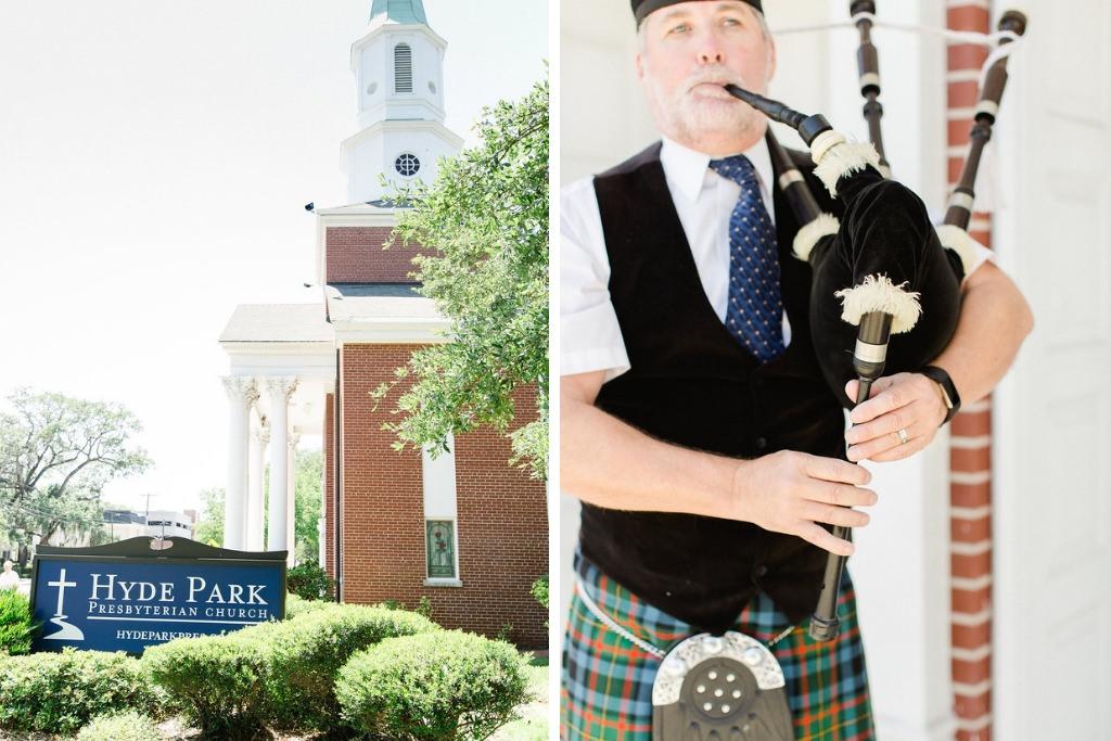 South Tampa Wedding Ceremony Venue Hyde Park Presbyterian Church, Scottish Bagpipe Musician