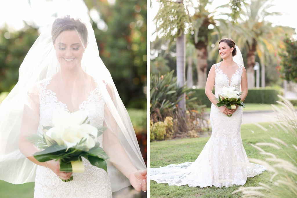 St. Pete Bride Wedding Portrait in Lace Fitted Sweetheart Neckline with Tank Top Straps and White Cala Lily Floral Bouquet and Veil | Photographer LifeLong Photography Studios