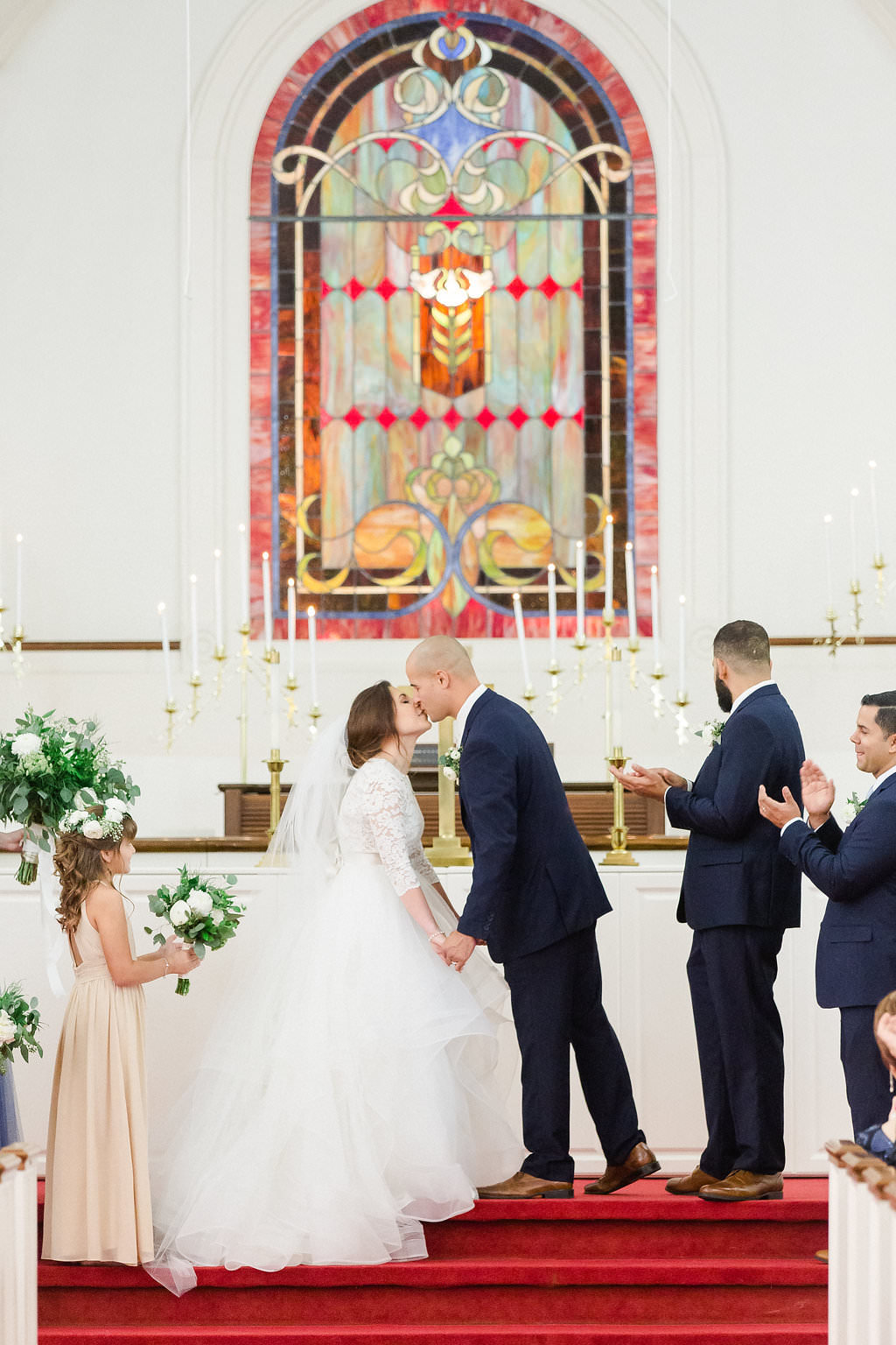 Florida Bride and Groom Traditional Church Wedding Ceremony Exchanging Vows | South Tampa Wedding Ceremony Venue Hyde Park Presbyterian Church