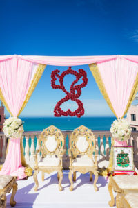 Florida Indian Hindu Rooftop Wedding Ceremony Decor, Gold and Blush Pink Linen Drapery Arch, White, Ivory Blush Pink Floral Bouquets, Red Hanging Floral Decor, Gold and Ivory Cushion Chairs   Clearwater Beach Waterfront Wedding Venue Hyatt Regency Clearwater