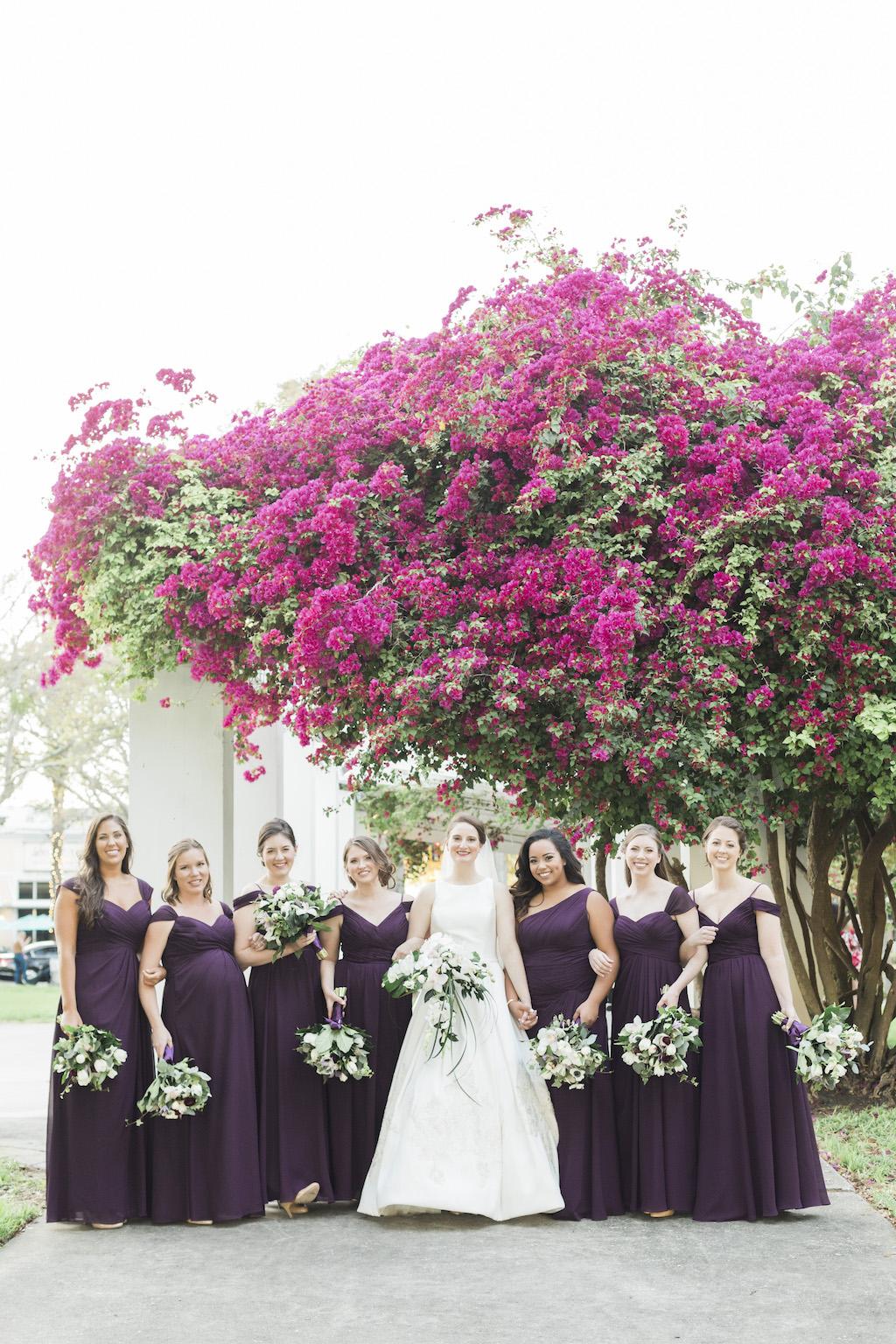 Tampa Bay Bride and Bridesmaids Portrait, Bridesmaids in Long Purple Dresses | Downtown St. Pete Straub Park