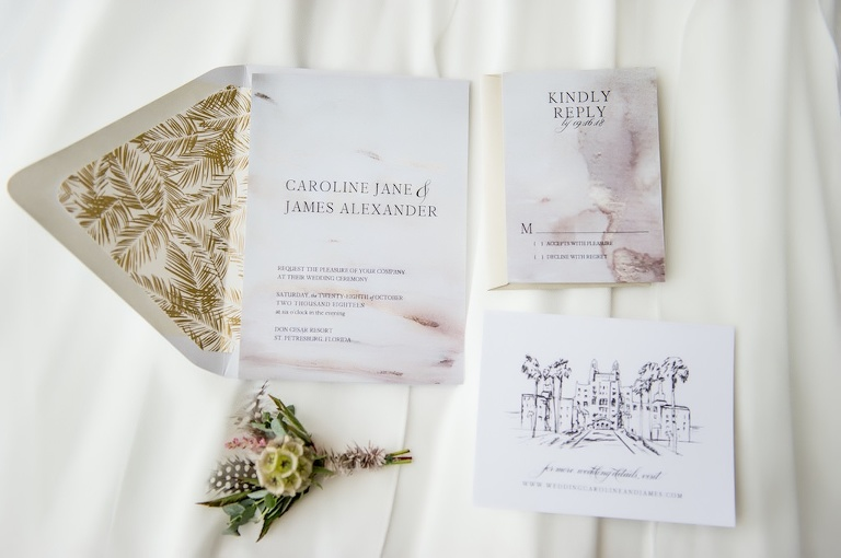 Chic Neutral Tone Modern Watercolor Wedding Invitation Suite, Multi-colored and Textural Floral Boutonniere with Scabiosa, Feathers and Pampas Grass, On Top of Ivory Linen | St. Pete Beach Resort Wedding Venue The Don Cesar | Tampa Bay Wedding Photographer Andi Diamond Photography | Tampa Wedding Stationary A+P Design Co