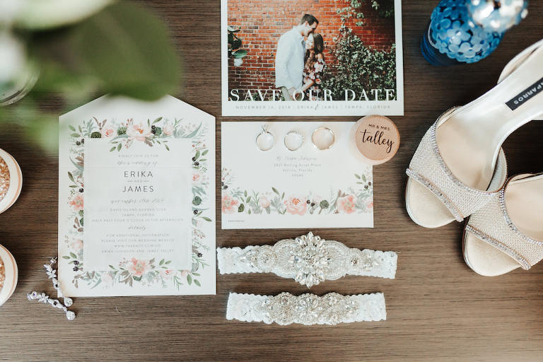 Custom Floral Garden Invitation Suite and Personalized Save The Date Card, White Lace Beaded and Rhinestone Detail Bridal Garter