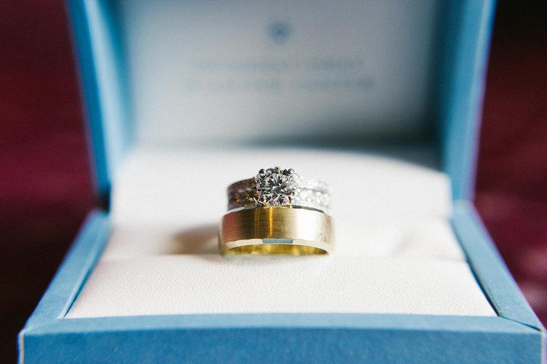 Round Diamond Engagement Ring, Bride Diamond Wedding Ring, Groom Yellow Gold Wedding Ring in Blue Ringbox