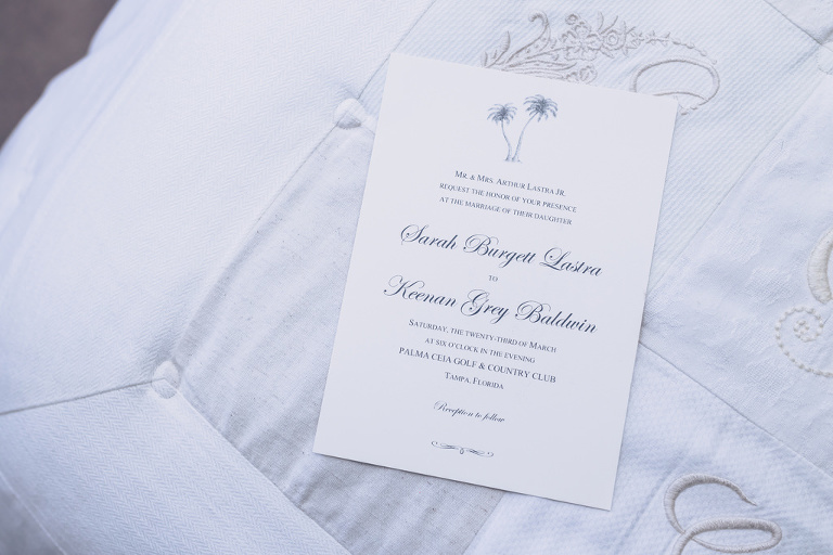 Elegant White and Blue Tropical Wedding Invitation Set
