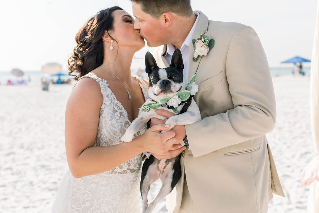 Clearwater Beach Bride and Groom Intimate Wedding Portrait with Dog | Pet Planner FairyTail Pet Care | Planner Gulf Beach Weddings