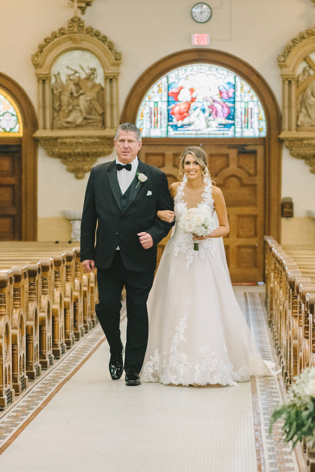 Bride and Father of the Bride Walking Down Ceremony Aisle   Tampa Wedding Photographer Kera Photography   Traditional Wedding Ceremony Venue Sacred Heart Catholic Church