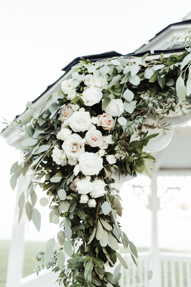 Garden Inspired Wedding Decor, White and Blush Pink Rose Floral Arrangement on Ceremony Gazebo | Tampa Bay Florist Monarch Events and Design