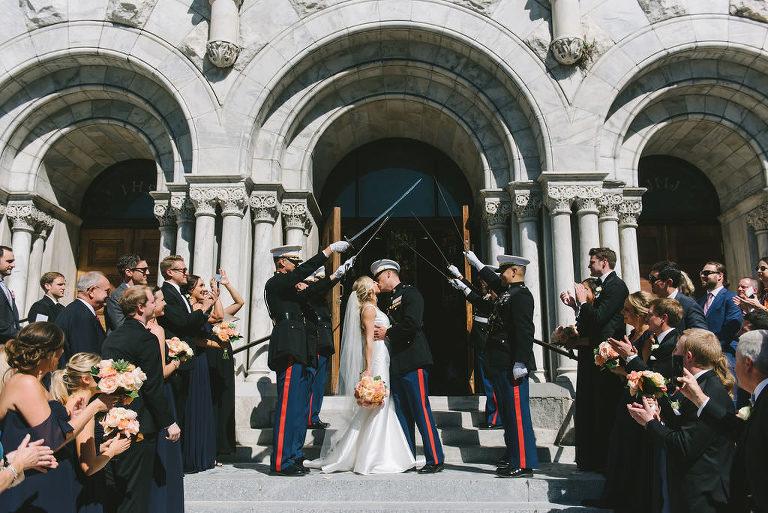 Florida Bride and Groom Wedding Ceremony Exit Under Military Sword Arch | Tampa Bay Wedding Photographer Kera Photography | Downtown Tampa Wedding Venue Sacred Heart Catholic Church