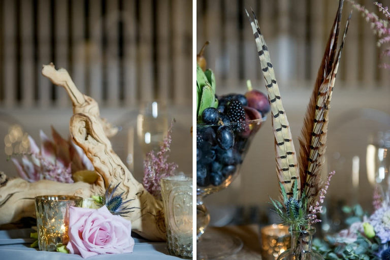Bohemian Chic Inspired Wedding Decor, Low Floral Centerpieces with Multi-colored and Textural Elements, with Pink Roses Thistle Turkey Feathers Antlers, Mercury Glass Votive Candle Holder | Tampa Bay Wedding Photographer Andi Diamond Photography | Tampa Bay Wedding Planner UNIQUE Weddings + Events