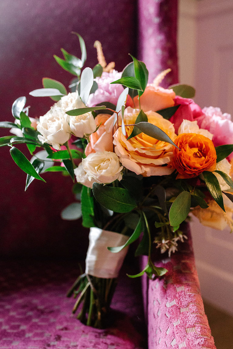 Colorful Bride Wedding Bouquet, Ivory, White, Pink, Orange, Peach and Greenery Flowers
