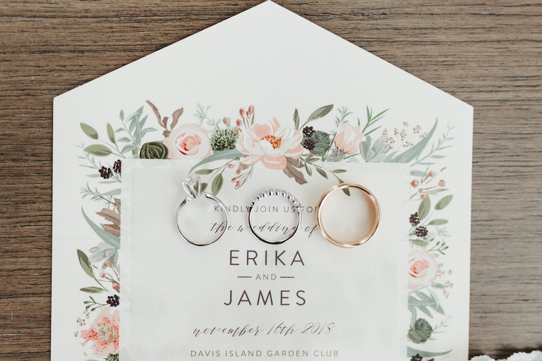 Custom Floral Garden Inspired Wedding Invitation, White and Yellow Gold Wedding Rings and Solitaire Diamond Engagement Ring