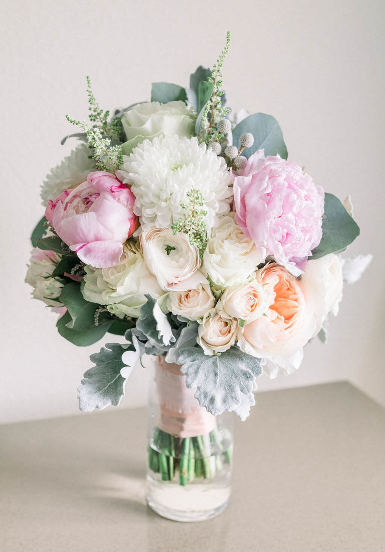 Rustic Elegant Bridal Floral Bouquet, Pink Peonies, Coral Roses, White Flowers, Silver Dollar Eucalyptus Greenery and Dusty Miller Leaves | Tampa Bay Wedding Planner Gulf Beach Weddings