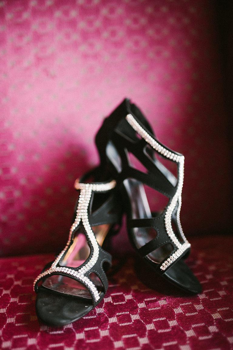 Black and Rhinestone Sandal Heel Wedding Shoes