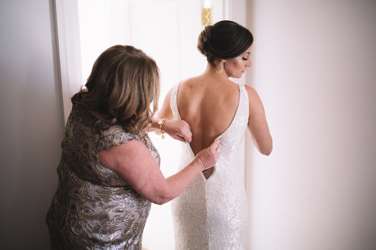 Bride and Mother of the Bride Getting Ready Wedding Portrait, Bride in White Sequin Wedding Dress