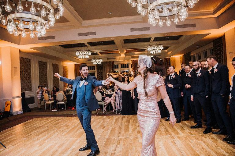 Bride and Groom First Dance Wedding Reception Portrait, Bride in Rose Gold Pink Sparkle Dress | Downtown St. Pete Hotel Wedding Venue The Birchwood | St. Pete Wedding DJ Grant Hemond & Associates