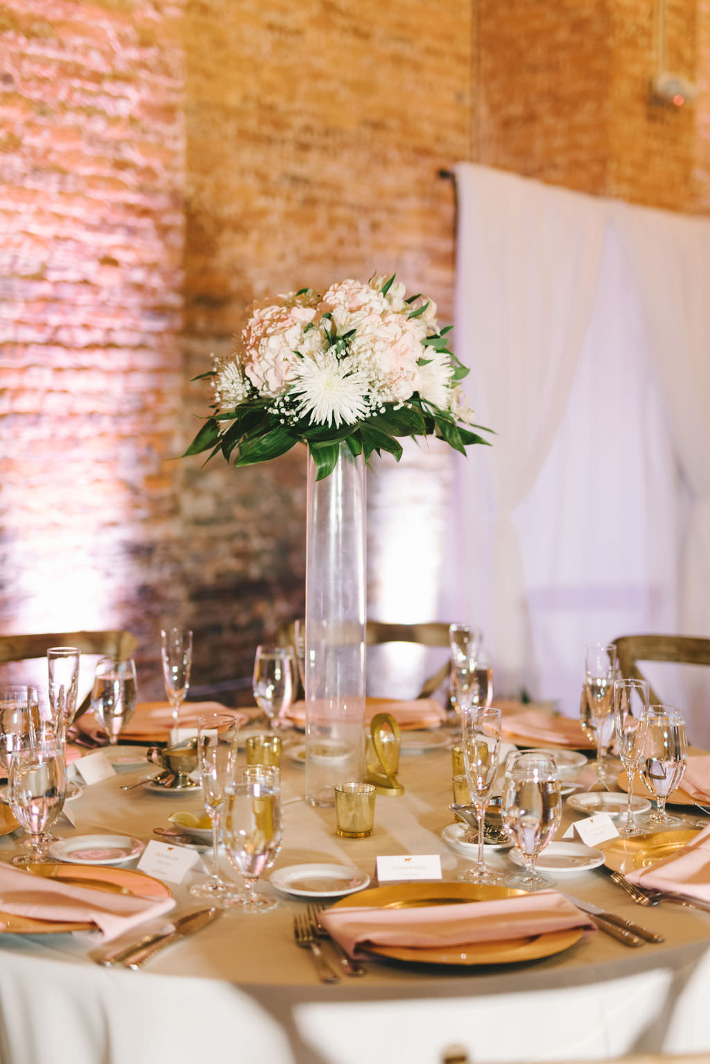 Classic, Romantic Wedding Reception Decor, Round Table with Gold Charger, Tall Clear Glass Cylinder Vase, Blush Pink, White and Greenery Floral Centerpiece   Photographer Kera Photography   Wedding Planner Kelly Kennedy Weddings and Events