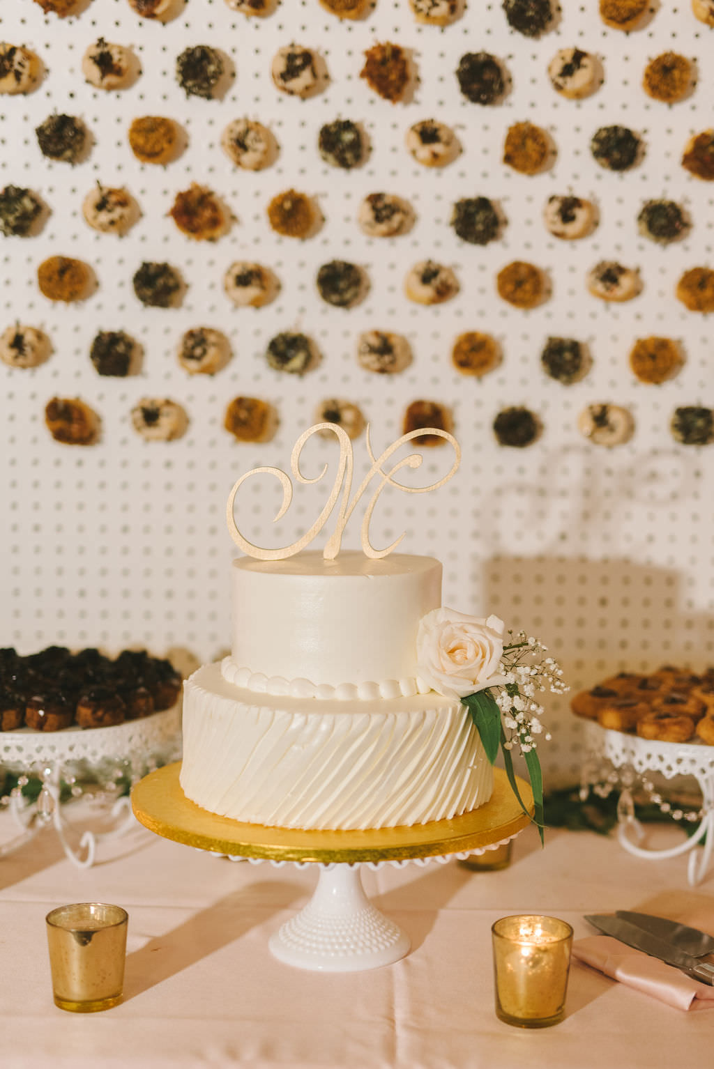 Classic Two Tier White Wedding Cake with Gold Monogram Cake Topper on White and Gold Cake Stand   Photographer Kera Photography   Wedding Planner Kelly Kennedy Weddings and Events