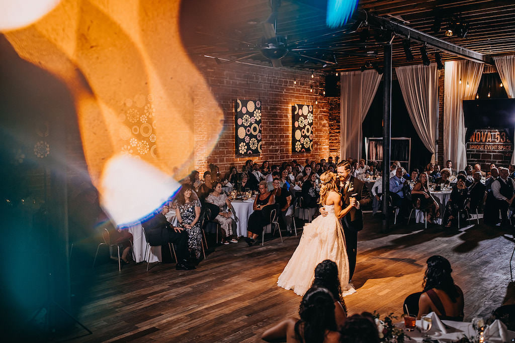 Florida Bride and Groom During First Dance | Downtown St. Pete Wedding Venue NOVA 535