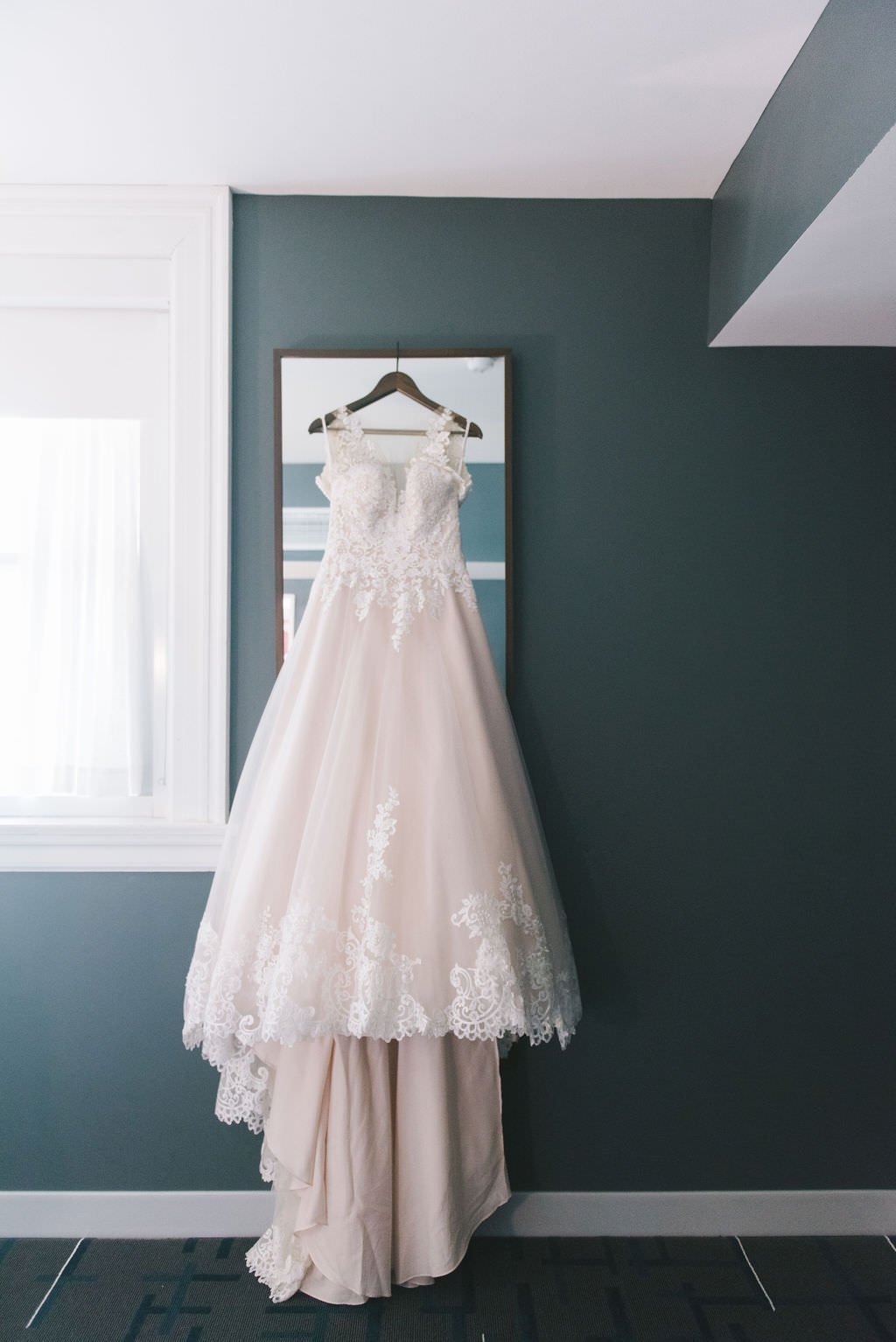Modern Boho A Line Lace and Tulle Sweetheart Illusion Neckline with Straps Wedding Dress   Tampa Wedding Photographer Kera Photography