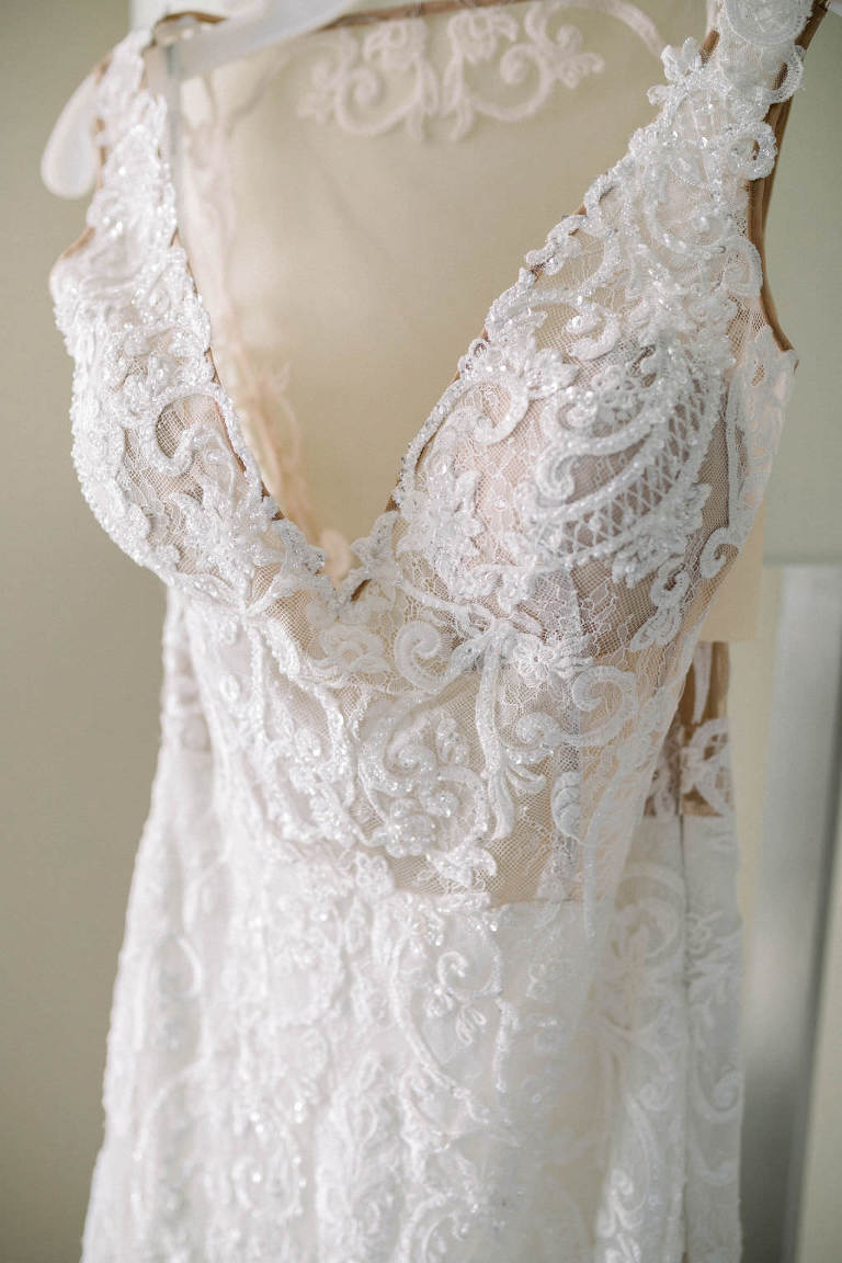 Lace and Rhinestone Embellished Deep V Neckline Illusion Fitted Wedding Dress with Tank Top Straps