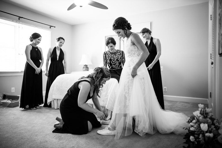 Black and White Bride and Bridesmaids Getting Ready Wedding Portrait, Bride in Sleeveless Tulle Dress with Sneakers | South Tampa