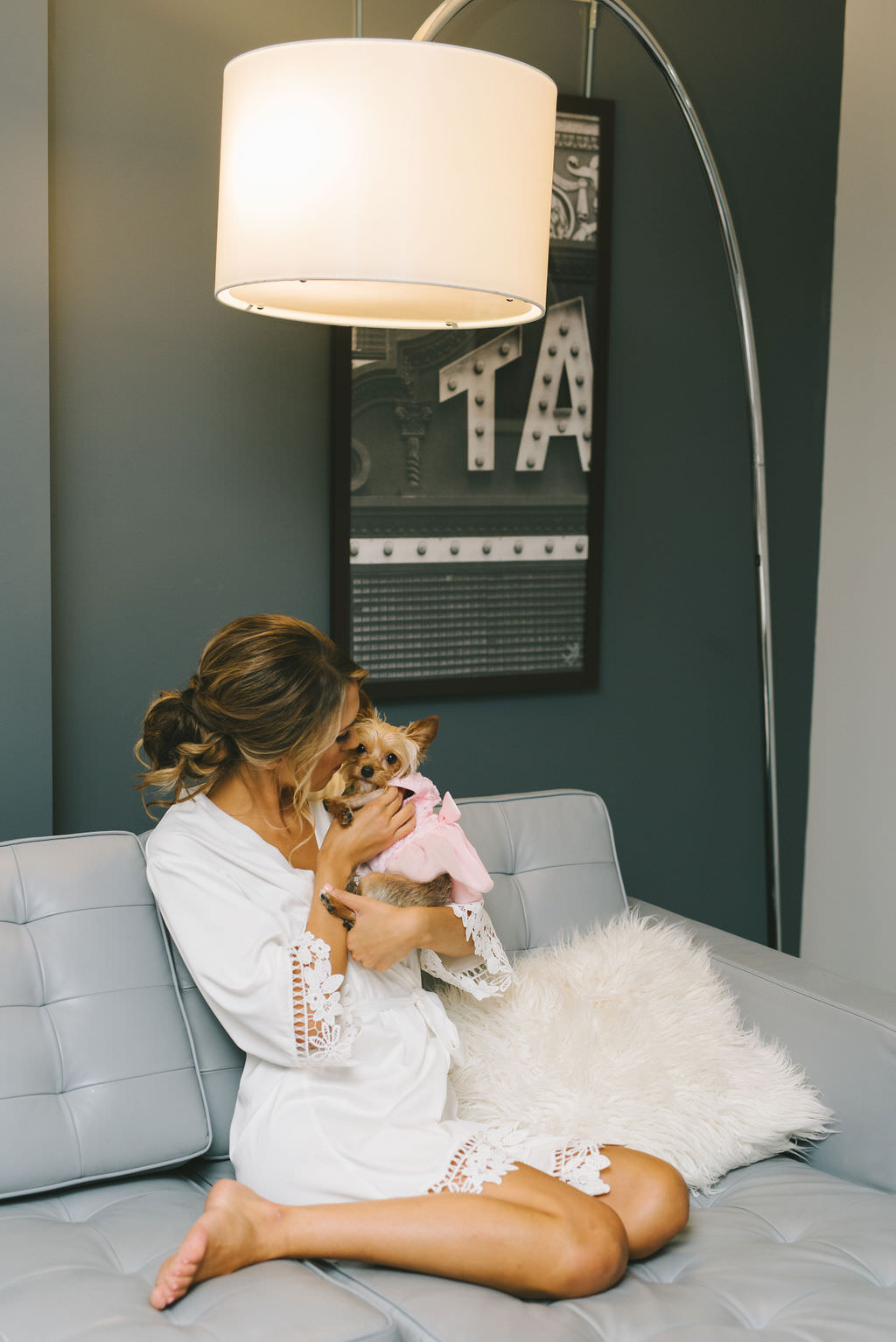 Bride in White Robe with Dog Getting Ready Wedding Portrait   Tampa Wedding Photographer Kera Photography