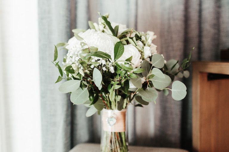 White Floral Wedding Bouquet with Greenery | Tampa Bay Wedding Florist Monarch Events and Design