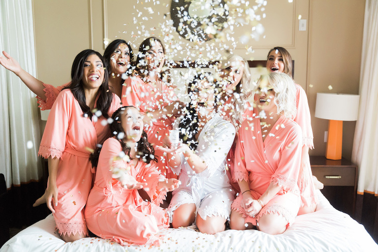 Florida Bride and Bridesmaids Getting Ready Confetti Wedding Portrait, Bridesmaids in Pink Robes