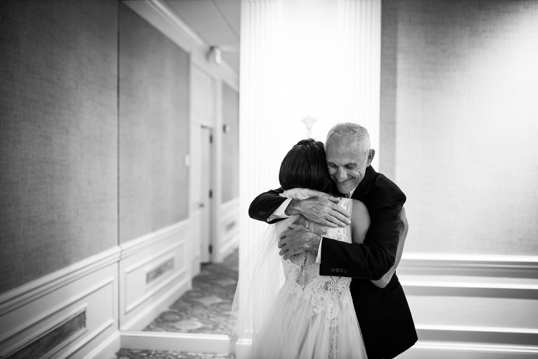 Bride and Father of the Bride Intimate First Look Wedding Photo | South Tampa