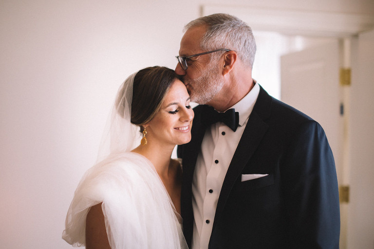 Tampa Bay Bride with Father of the Bride Getting Ready Wedding Portrait, Gold Teardrop Earrings, Father Daughter Intimate Moment | Tampa Wedding Makeup and Hair Artist Femme Akoi