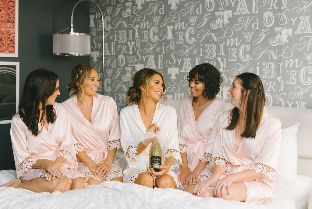 Bride and Bridesmaids Getting Ready Wedding Portrait, Bridesmaids in Matching Blush Pink Silk and Lace Robes   Tampa Wedding Photographer Kera Photography