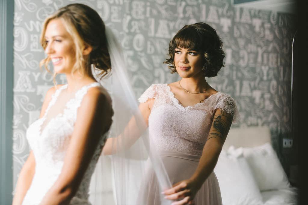 Bride Getting Ready Wedding Portrait with Bridesmaids   Tampa Wedding Photographer Kera Photography