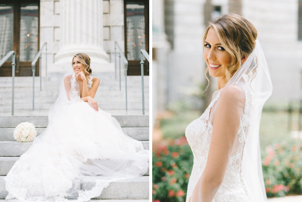 Florida Bride Outdoor of Downtown Historic Tampa Hotel Le Meridien Wedding Portrait   Photographer Kera Photography