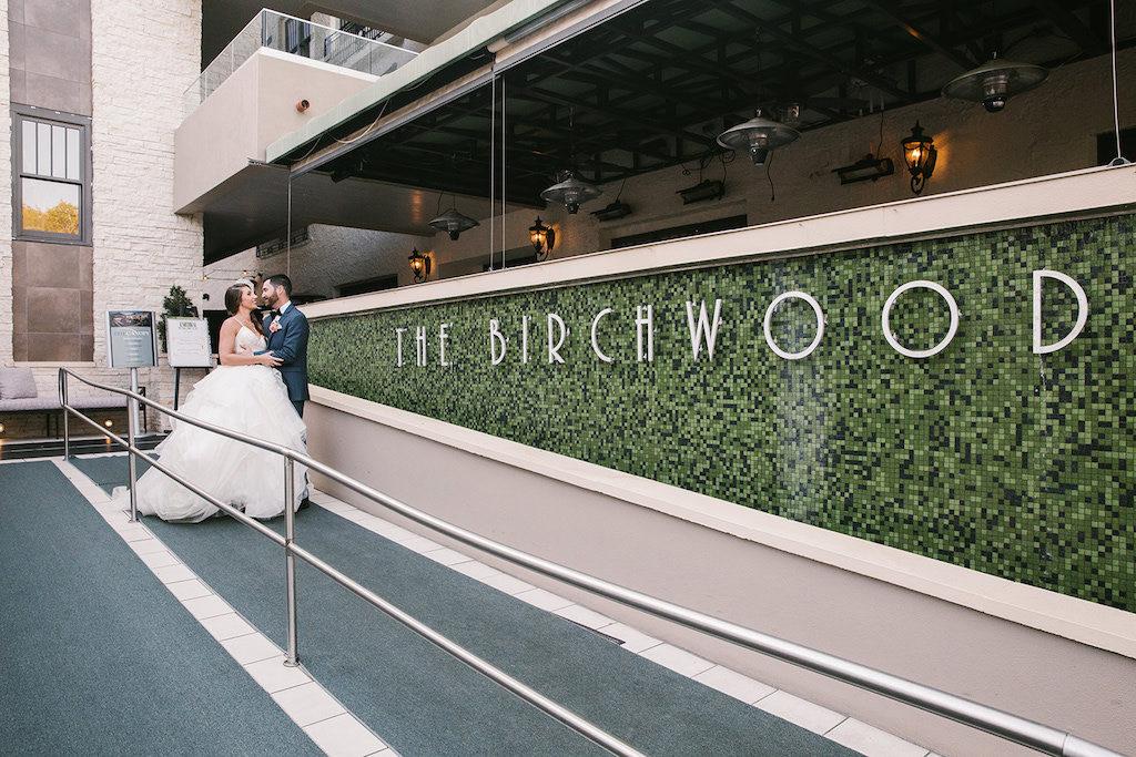 Outdoor First Look Wedding Portrait | Downtown St. Pete Boutique Hotel Wedding Venue The Birchwood