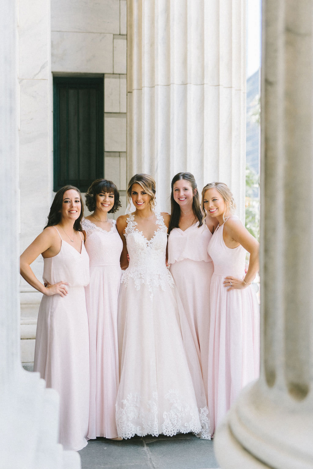 Tampa Bay Bride and Bridesmaids Wedding Portrait, Bridesmaids in Blush Pink Long Mismatched Style Dresses, Bride in Lace and Tulle White and Ivory A Line Sweetheart and Illusion Neckline with Straps Wedding Dress   Photographer Kera Photography