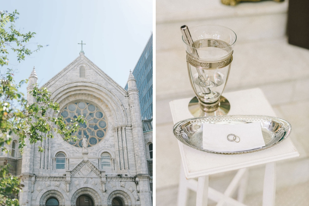 Tampa Bay Traditional Wedding Ceremony Venue Sacred Heart Catholic Church, Bride and Groom Wedding Rings on Silver Tray   Downtown Tampa Photographer Kera Photography