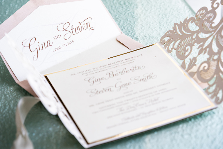 Elegant Romantic Blush and Gold Foil Wedding Invitation Suite